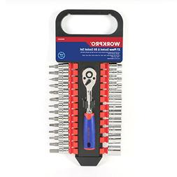 WORKPRO Drive Socket Wrench Set, with 1/4-inch Ratchet and B