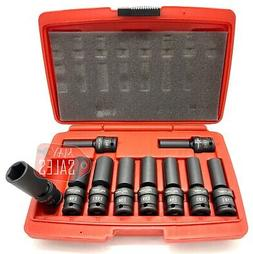 "3/8"" Dr Universal Swivel Deep Impact Socket Set 10-19MM PRO"