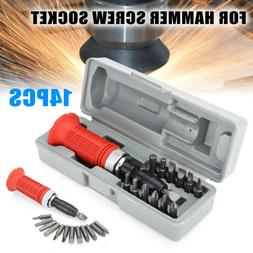 14Pcs 1/4inch Driver Hammer Impact Screwdriver Screw Socket