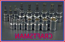 CRAFTSMAN 16pc LOT 1/4 3/8 Torx / Star E External bit ratche