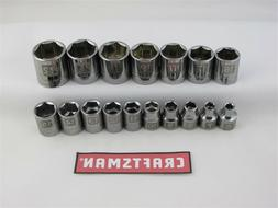 "Craftsman 17pc LASER ETCHED Socket Set 6pt 3/8"" Drive MM Met"