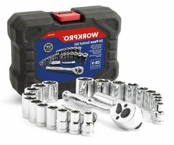 "WORKPRO 24-Piece Compact Drive Sockets Set 3/8"" Ratchet with"
