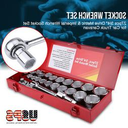 "27x  Wrench Socket Set -Extra Large 3/4"" Drive Metric & Impe"