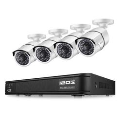 ZOSI 2MP Wire POE 4CH NVR Outdoor Security System Night View
