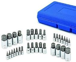 "32pc MASTER HEX BIT SET  SOCKET SET STANDARD ALLEN 1/4"" 3/8"""