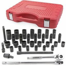 "34PC 1/2"" Drive Hi-Viz SAE Impact Socket & Accessory Set Sta"
