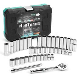 """DURATECH 40 Pc 3/8""""Drive Socket Ratchet Set SAE and Metric M"""