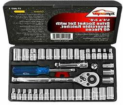 40 Pieces - EPAuto 1/4-Inch & 3/8-Inch Drive Socket Set