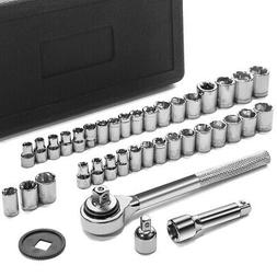 "40pc SAE & Metric MM Sockets Set 1/4"" & 3/8"" w/ Ratchet with"