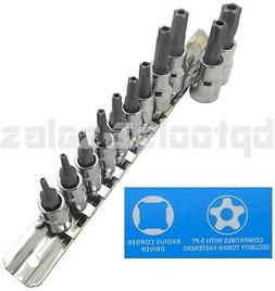 11pc 5-POINT Security Star Bit Socket Set Torx Star Tamper P