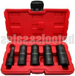 "5PC 1/2"" DR. THIN WALL FLIP IMPACT SOCKET SET FOR AUTO RIMS"