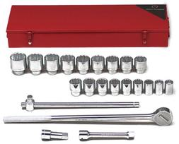 WRIGHT TOOL 623 Socket Wrench Set, SAE,3/4 in. Dr,22 pc G784