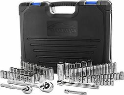 "New 69 Pieces - EPAuto 1/4"" & 3/8"" Drive Socket Set with Pea"