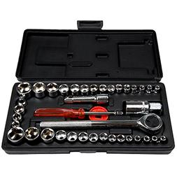 40 Piece Ratcheting Socket Wrench Set - Metric and Standard