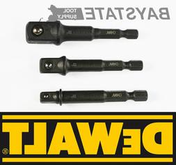 "DeWalt Socket Adapter Set Hex Shank to 1/4"",3/8"",1/2"" Impact"