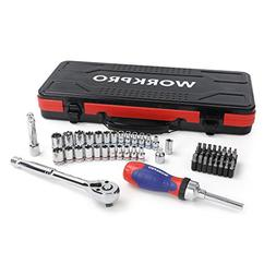 WORKPRO Socket Set, 3/8'' Quick Release Ratchet, Ratcheting