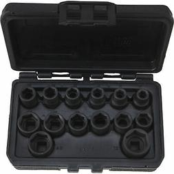 Klutch Chrome Moly 1/2in.-Drive Impact Socket Set - 14-Pc.,