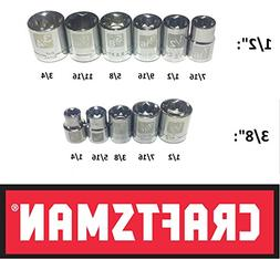"Craftsman Easy Read 11 Pc SAE Standard 3/8"" and 1/2"" Drive 8"