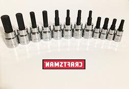 "Craftsman 12 Piece Standard Sae + Meric MM 3/8"" and 1/4"" Dri"