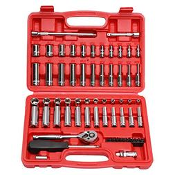 CASOMAN 1/4-Inch Drive Master Socket Set with Ratchets,Unive