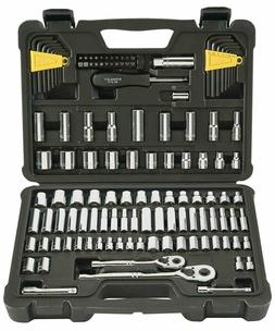 "Stanley 123-Piece Socket Ratchet Tools Set Metric 1/4"" 3/8"""