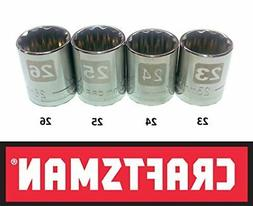 CRAFTSMAN EASY READ 4 pc LARGE METRIC/MM 1/2 DRIVE 12 POINT