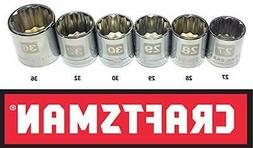 CRAFTSMAN EASY READ 6 pc LARGE METRIC/MM 1/2 DRIVE 12 POINT