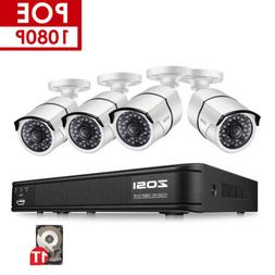 ZOSI HD 1080P 4CH POE NVR 2MP Outdoor IP Network Security Ca