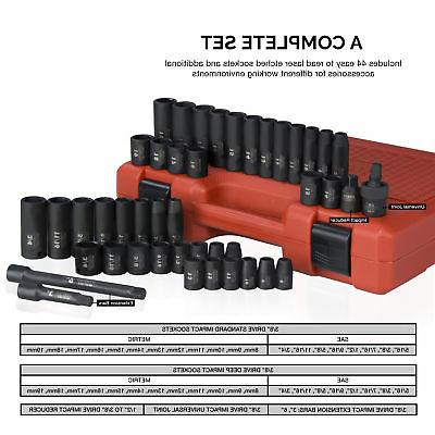 "Impact Socket Set SAE 5/16 - 3/4"", 8 19mm"