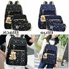 3Pcs/Set Women Canvas Backpack Girl School Shoulder Bag Book