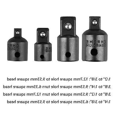 "4-pack 1/4"" 1/2 inch Drive Socket Adapter Reducer Impact"