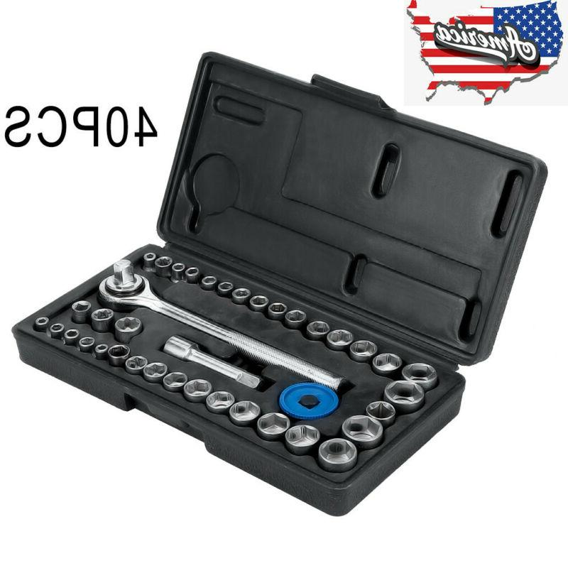 40pc SAE & Metric MM Sockets Set 1/4In & 3/8In w/ Ratchet wi