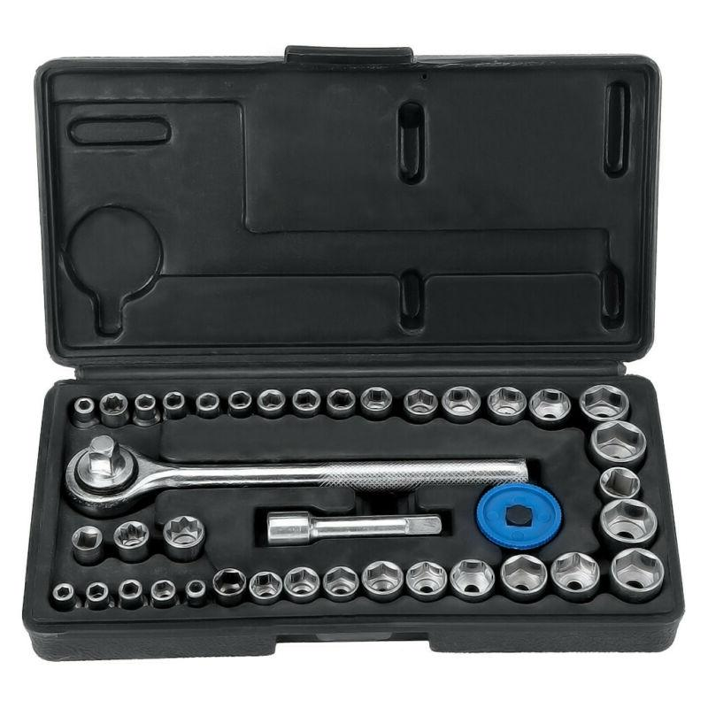 "40pc 1/4"" & 3/8"" SAE & Metric MM Sockets Set  w/ Ratchet wit"