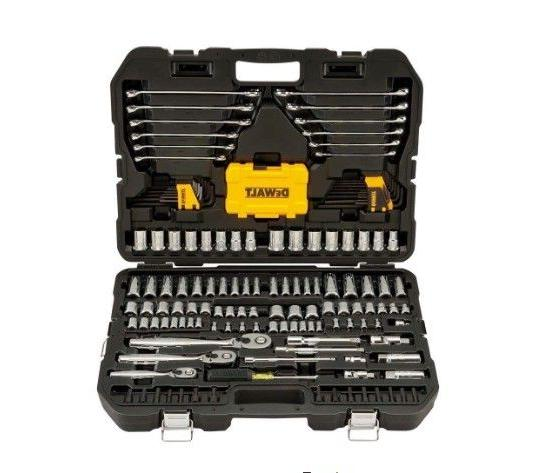 Dewalt Drive Polished Chrome Mechanics Tool Set Ratchets Soc