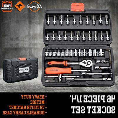 Socket Set Compact 46pcs 1/4' Metric Drive Ratchet Phillips