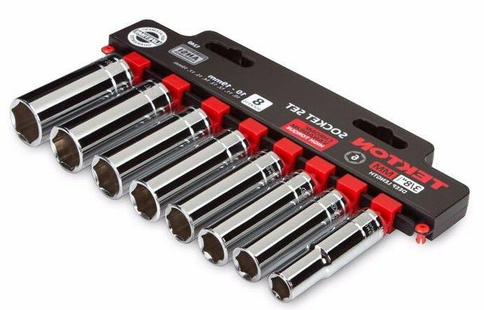 TEKTON 3/8-Inch Drive Deep Socket Set, Metric, Cr-V, 10 mm -