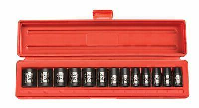 TEKTON 3/8-Inch Drive Shallow Impact Socket Set, Metric, Cr-