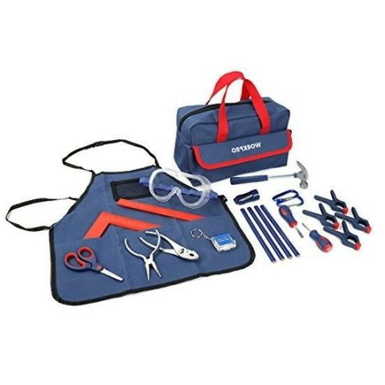 Kid's WORKPRO 23-piece Children's Real TOOL Kit and Bag Reco