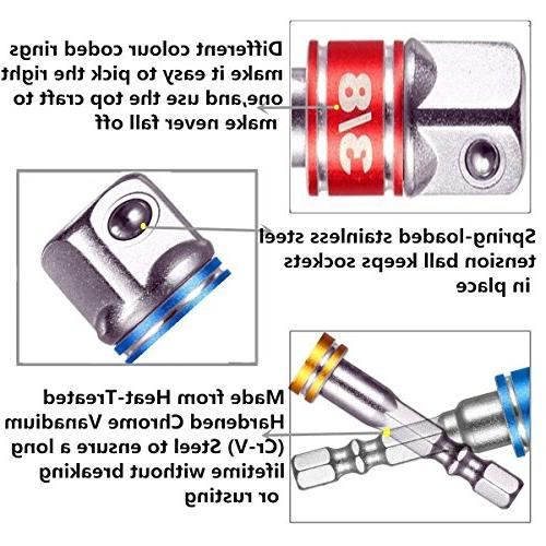 YiFox 3-Pcs Colour Hand Tools Sockets sets, Hex Driver Extension Bit Adapter Socket Wrench Adapter 3/8 and 1/2