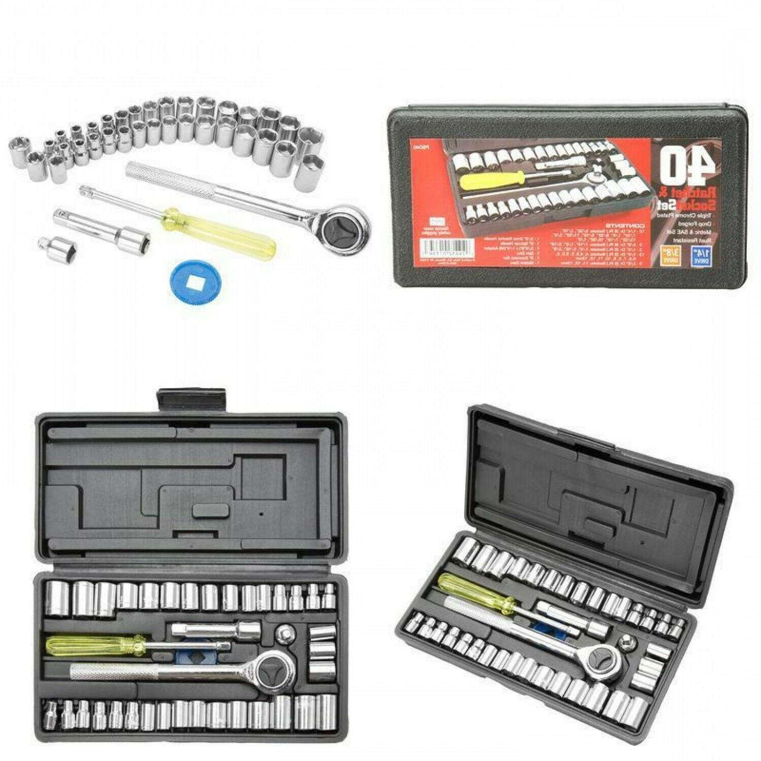 Ratchet Socket Craftsman Tool Set 40 Pc 1/4 3/8-inch Drive S