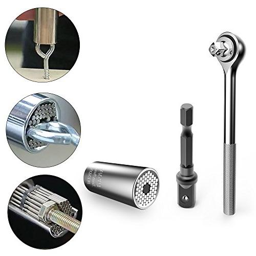 BLENDX Socket Ratchet Universal Socket with Adapter - Tool Present for Husband Boyfriend