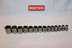 "NEW Craftsman Tools 14 pc 1/2"" Drive SAE Socket Set 6 pt STD"