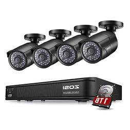 ZOSI 1080P PoE Home Security Camera System, 8 Channel NVR Re