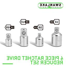 """Socket Adapter and Reducer Set 4pc 3/8"""" 1/4"""" 1/2"""" Ratchet wr"""