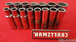 "CRAFTSMAN Socket Set 1/2"" drive MM METRIC 12pt DEEP 15pc LAS"