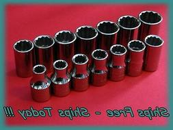 "Craftsman Socket Set 14 Piece 1/2"" Drive 12 Pt Point Metric"