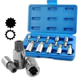 10pc XZN 12 Point MM Triple Square Spline Bit Socket Set Tam